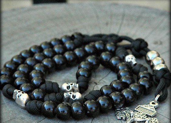 Memento Mori Skull Rosary and Paracord