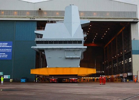 Cool time lapse of an aircraft carrier being assembled piece by piece