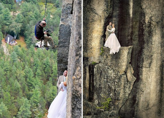 Photographer Shoots Bride And Groom On A Small Ledge 350Ft Above A Valley | Bored Panda