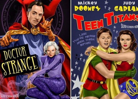 Joe Phillips Imagines Old Hollywood Takes on Superhero Movies