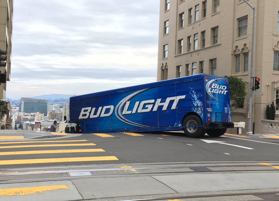 Bud Light semi truck driver apparently unfamiliar with city's steep hills gets stuck - SFGate