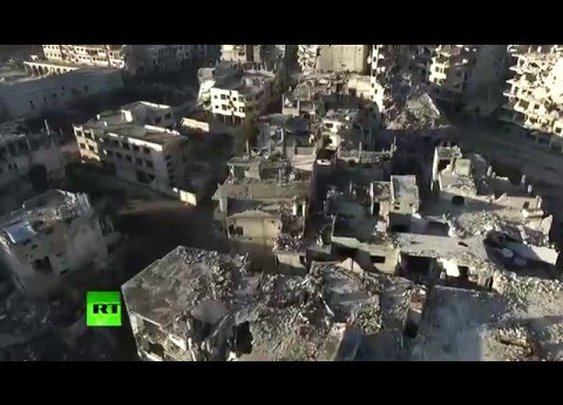 Aerial: Drone footage shows total devastation in Homs, Syria (EXCLUSIVE) - YouTube