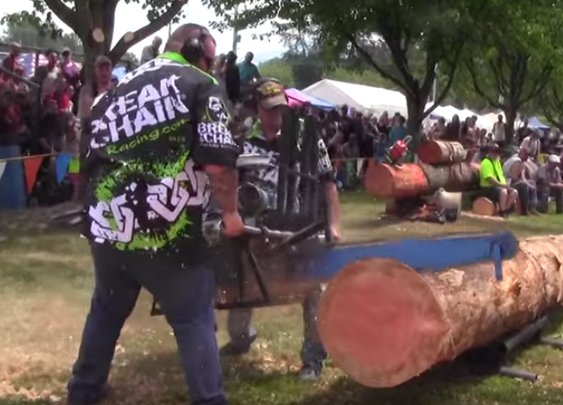 Watch These V8-Powered Chainsaws Rip Through Logs Like Twigs