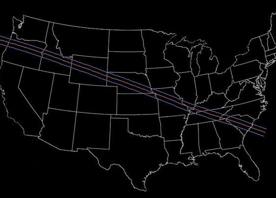 Total Solar Eclipse 2017 - Path Through the US