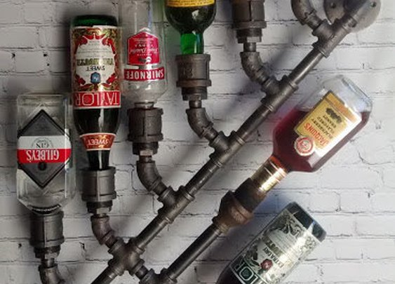 Industrial Wine Rack Bottle Wall Mount
