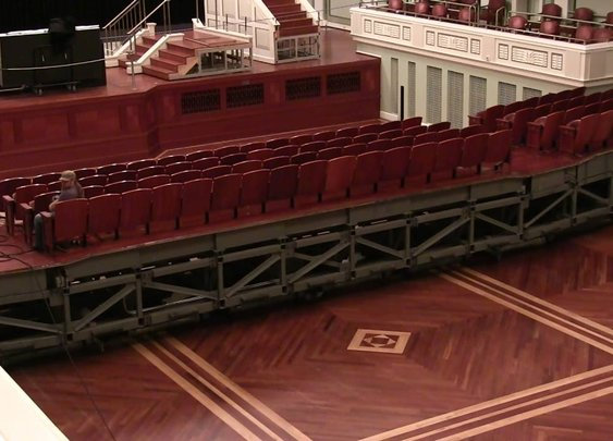 Time lapse of the floor change at Laura Turner Concert Hall