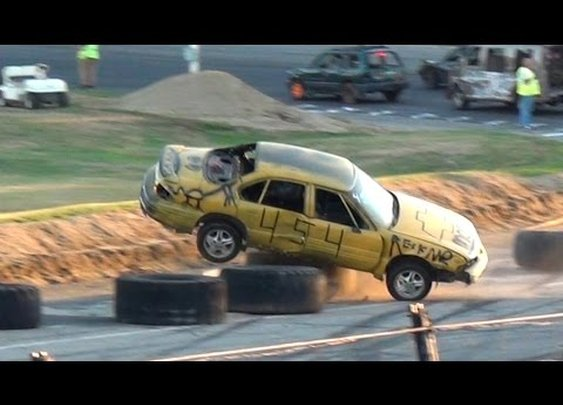 Vehicles Crash Left and Right While Drag Racing Backwards at Full Speed