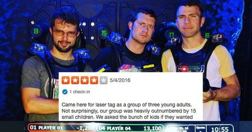 Brutal laser tag saga tells of kids vs. grown ups in a Yelp review