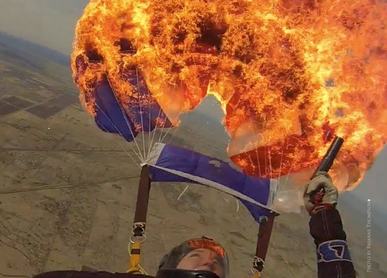 Woman Lights Parachute on Fire With a Flare Gun While Skydiving to Teach Important Safety Lesson