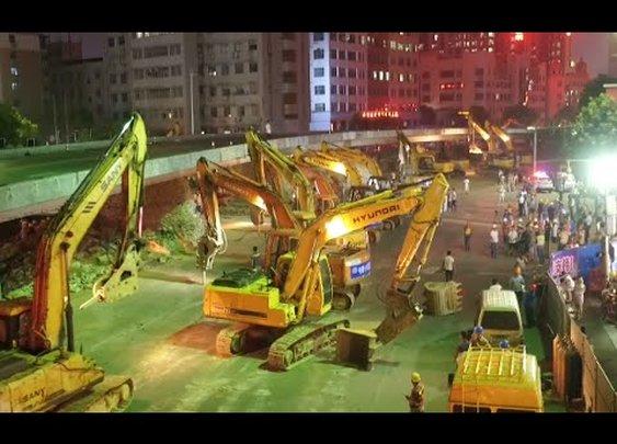 100 Plus Excavators Dismantle Overpass Bridge