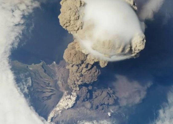 Russian Volcano Erupts Over International Space Station