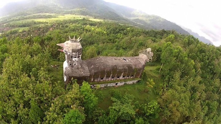 Mysterious, Abandoned Indonesian Church Shaped like a Giant Chicken