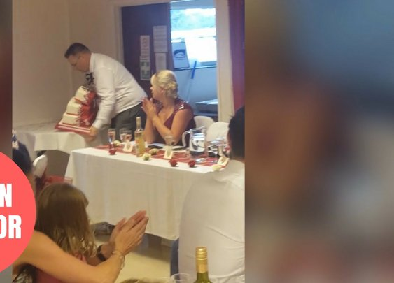 Father Of The Bride Drops Wedding Cake