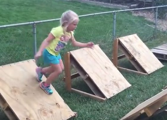 Dad Builds Backyard Ninja Warrior Course for 5-Year-Old Daughter