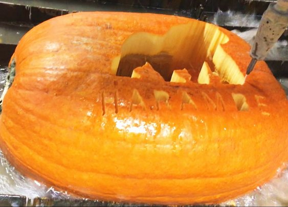 Carving A Pumpkin With A Waterjet