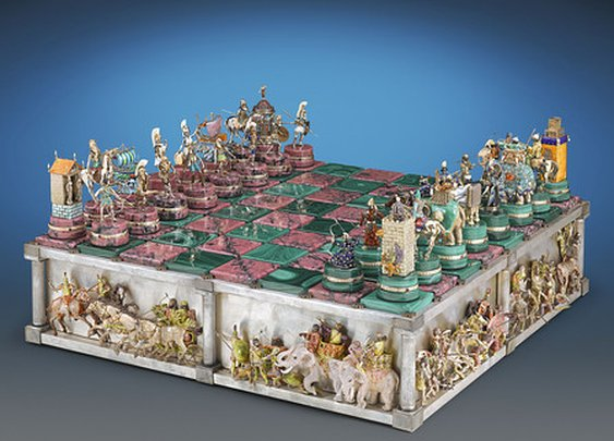 The Battle of Issus Chess Board ~ M.S. Rau Antiques