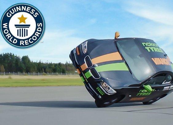 Fastest side wheelie in a car —115mph