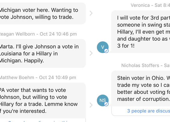 "Third-party voters are ""trading votes"" with Clinton voters to defeat Trump"