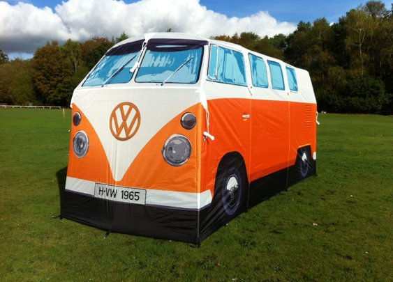 A Volkswagen microbus tent, for camping or just hanging out
