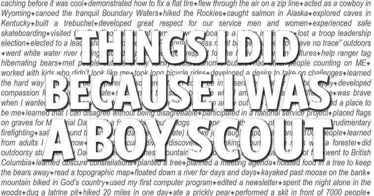 Things I Did Because I Was a Boy Scout, an impressive list