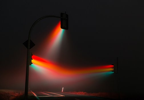 lucas zimmermann's traffic lights illuminate misty streets