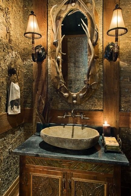 Rustic Bathroom with Antler Mirror