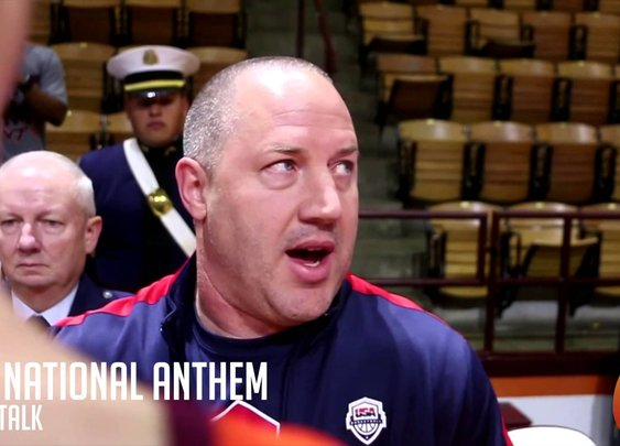 Coach Williams hosts Veterans and explains to his team about the National Anthem