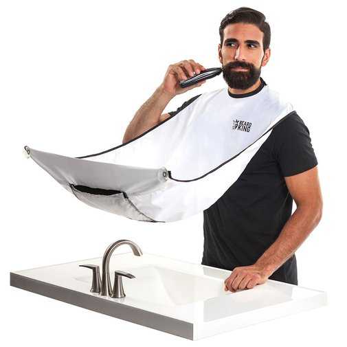 The Beard Bib, A Bib That Collects Your Facial Hair Clippings and Eliminates Messy Grooming