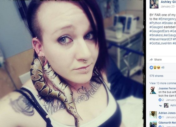 Pet snake gets stuck in woman's stretched earlobe