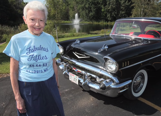 A Woman Shows Off Her 1957 Chevy, The Only Car She's Driven Since Buying It New in 1957
