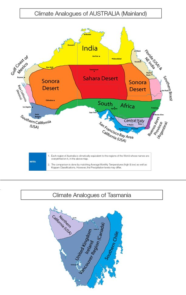 Climate Analogues of Australia - Brilliant Maps