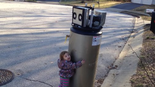 Little girl mistakes water heater for robot, welcomes it to Earth, hugs it, is great      · Great Job, Internet!     · The A.V. Club