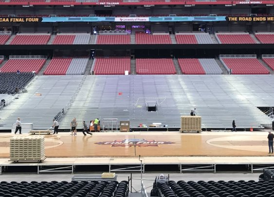 Transforming a Football Stadium Into a Final Four Court