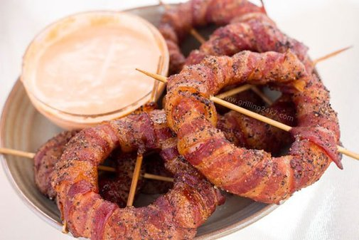 Smoked Spicy Bacon-Wrapped Onion Rings