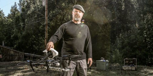 How Mythbuster Jamie Hyneman Hacked a Drone to Trim His Trees