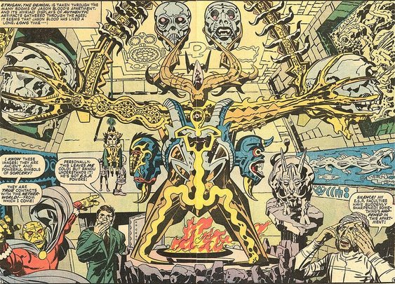 Jack Kirby's nightmarish double page spreads from The Demon (1972-73) / Boing Boing