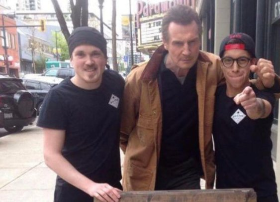 Liam Neeson showed up to a sandwich shop that offered him a free sandwich