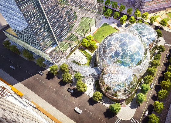 Amazon's Expansive Biodomes Get Their First of 9,000 Plants