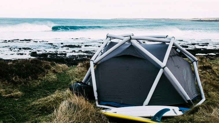 Inflatable dome tent sets up in minutes