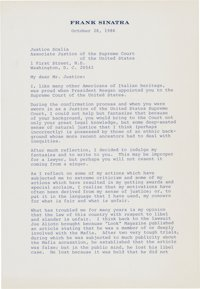 Frank Sinatra to Justice Antonin Scalia: A Remarkable 4 Page | Lot #43247 | Heritage Auctions