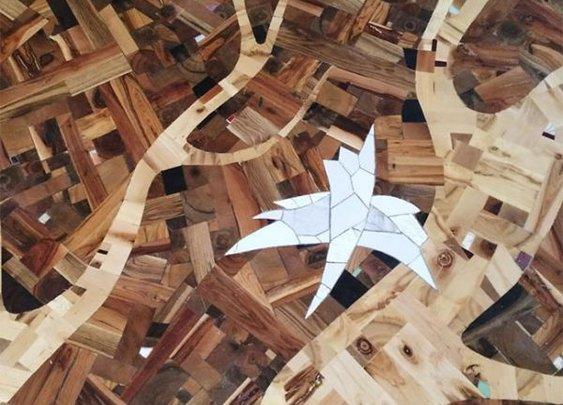 Craftsman Creates Amazing Hardwood Floor Art From Random Wood Pieces