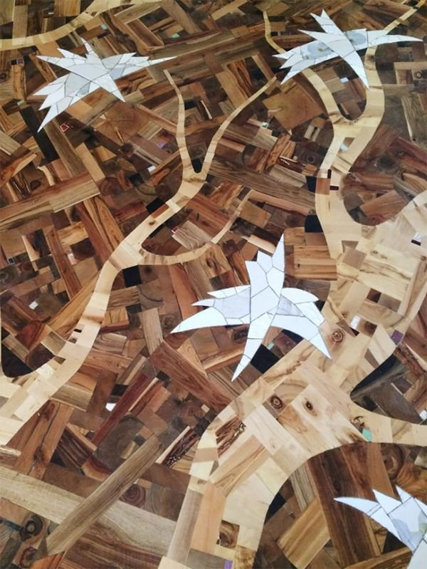 Craftsman Creates Amazing Hardwood Floor Art From Random Wood Pieces