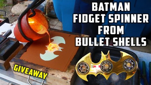 Casting Brass Batman Fidget Spinner from Bullet Shells - YouTube
