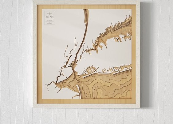 Pangea Laser-Cut Maps Put the Ocean on Your Wall