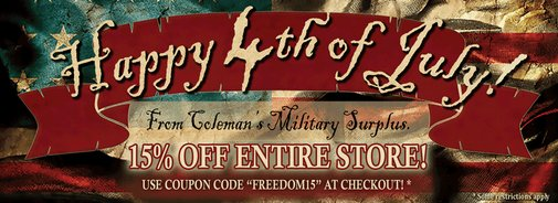 Coleman's Military Surplus - 15% Off Storewide Sale