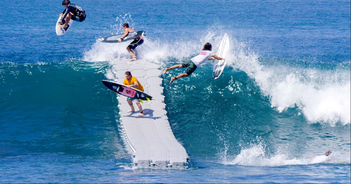 When Surfers Place a Floating Dock on Ocean