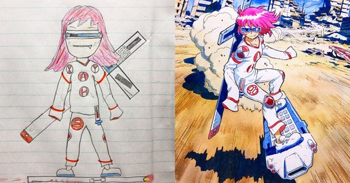 Artist Dad Turns His Sons' Doodles Into Stunning Anime Characters