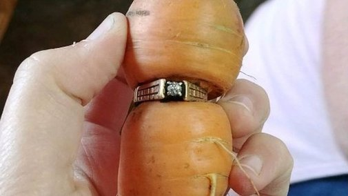 Woman finds long-lost diamond ring on carrot in garden