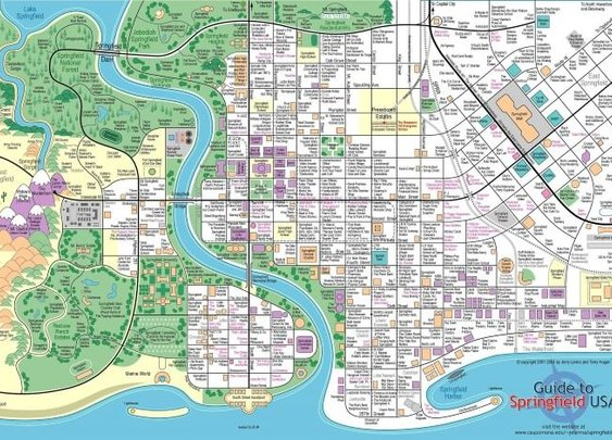 Map Of The Town of Springfield From The Simpsons - Brilliant Maps