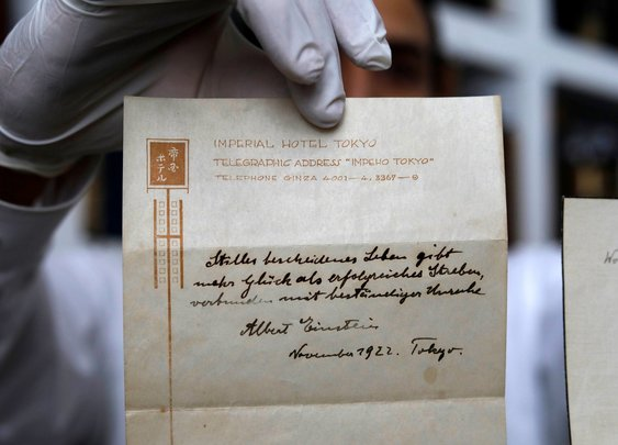 Einstein's Note On Happiness, Given To Bellboy In 1922, Fetches $1.6 Million